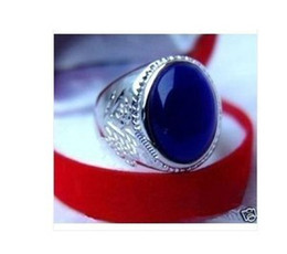 Wholesale cheap Beautiful Silver Men's bleu Opal ring