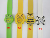 Wholesale 50pcs Fashion Animal Slap Snap On Silicone Wrist Watch Boys Girls Children Kids Gift