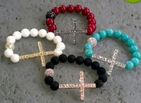 Wholesale sideways cross bracelets beaded strand stretched side ways bracelet mix religious jewelr