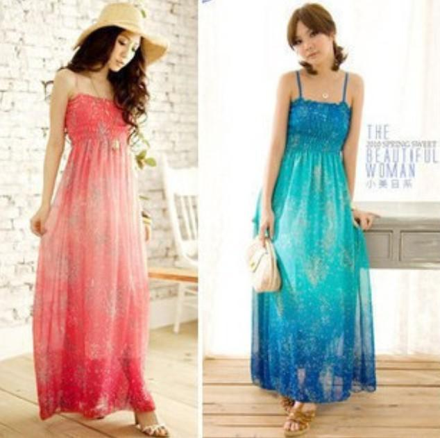 2012 SUMMER Women Sexy Long Maxi Dress Beach Evening Dress Skirt ...