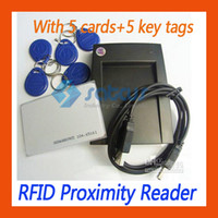 Wholesale HOT EM4100 RFID Card Proximity Reader USB KHz Cards Key Tags Satcus