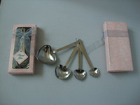 Wholesale Sweet Valentine gift A set of pc heart love sharped stainless steel measuring spoon Family gift