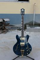 Wholesale guitars HIGH quality wonderful sound blue hollow body jazz electric guitar