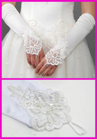 Wholesale Elbow Length White Beaded Lace Satin Fingerless Wedding Accessories Bridal Gloves G119