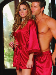Wholesale Newest Red Brazil Women Fashion Chiffon Gown Sexy Underwear Lace Belt Sleepwear Robe