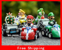 Wholesale A Set of different figures Hot Super Mario Bros Kart PULL BACK Car Figures Fashion Gift Kids Toys