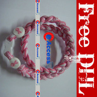 Wholesale BCPR Tornado Titanium Sports Necklace with Pink Ribbon Stoppers for Breast Cancer Healty Necklace