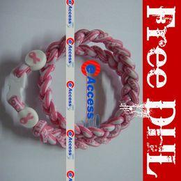 Ruban rose sein en Ligne-BCPR Tornado titane sport collier avec des bouchons de ruban rose pour le cancer du sein Healty collier