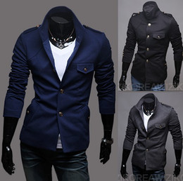 Wholesale 2012 New Hot Fashion Men s Coat Men s Slim Stand Collar Badges Type OverCoat Coat