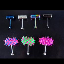 Wholesale Tattoo Supply mixed color Vibrating Tongue Bar Ring Free Batteries for Body Jewelry Piercing