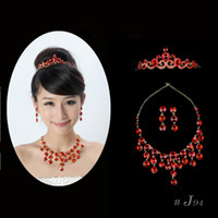 Wholesale Bright Red Wedding Bridal Jewelry Sets Crystal Diamond Necklace Earrings and Tiara J94