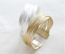 New Vintage Alloy braided Bracelet Women wide Bangle Bracelets Fashion Gold Silver xmas gift Hot 15pcs