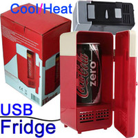 Wholesale New Fashion Portable USB Mini Fridge refrigerator Drink Beer Juice Can Cooler amp Warmer