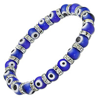 Wholesale EVIL EYE LAMPWORK GLASS BEAD TURKISH NAZAR GREEK BEADED STRETCH BRACELET mm Royal Blue