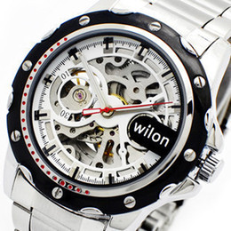 transparent glass back men mechanical stainless steel band dive sport mens wristwatches silver wilon