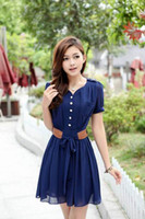 Wholesale New Arrival Lady Dress Button at Center Front waist belt shoulder badge bowknot chiffon dress