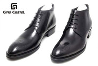 Wholesale Gino Castel Oxhide Fashion Mid Craft Men Hollow Dress Ankle Boot Hot Leather Shoes TS024BK