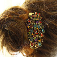 Wholesale Diamante Luxury Peacock Duck Clip Banana Clips Hair Barrette Hairpin E6150