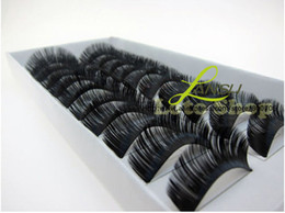Wholesale HOT Fashion Natural Human Hair Thick Fake False Eyelashes Handmade Pairs Box
