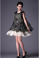 Wholesale Women s After the split in the Lace Skirt Pleats Embroidery Dress Black White
