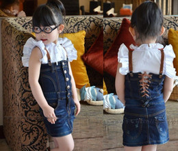 Wholesale Girl set summer american girl doll clothes Jean skirt suspender skirt suit girls outfit kids wear