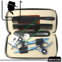 Wholesale Hair scissors INCH Cutting amp Thinning shear suit Blue sakura pattern SMITH CHU JP440 NEW