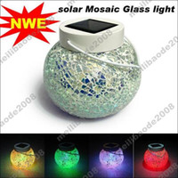 Wholesale 2pcs H91 Outdoor Solar Colors Changing Mosaic Glass LED Lights For Garden