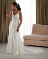 Reference Images V-Neck Chiffon A-240 Elegant Spring Cheap Chiffon V-neckline Beadeds Ruffle Beach Wedding Dress Bridal Gown 2013