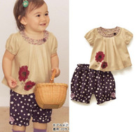 1-6years 80-90-100-110-120 Girl girl's T-shirt Polka Dot shorts Coat+shorts Summer Flowers t -shirt Printing T-shirt+pants Two-piece