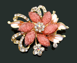 Wholesale fashion Women Gold plated Zinc alloy rhinestone flowers Brooch costume jewelry Free shipping 12pcs lot mixed color BH604