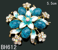 Wholesale hot sell Women Gold plated Zinc alloy rhinestone flower Brooch Pins costume jewelry mixed color BH612