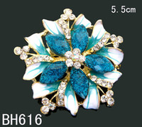 Wholesale hot sell Women Zinc alloy rhinestone flowers fashion Brooches costume jewelry mixed color BH616