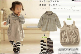 Wholesale Children cute girl striped t shirt gray strap dress socks piece suit set dandys