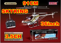 Wholesale 91cm Sky King helciopter Metal gyro ch remote control rc helicopter RTF W LED light toy