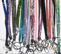 Wholesale Bling Bling Lanyard Crystal Rhinestone in neck with claw clasp ID Badge Holder for Mobile phone uyyu