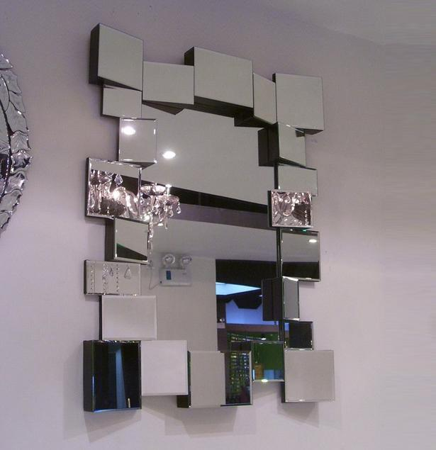 mr 201041 glass wall mirror decor with angled face design - Mirror Wall Decor