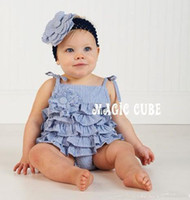Wholesale 2016 New Baby girl One Piece romper babe Suspenders romper Lovely stripe romper with flower pink blue
