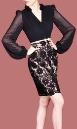 V-Neck long sleeve dress fashion women dress m l xl xxl size