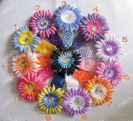 Wholesale 60pcs double color daisies Gerber With Headband baby hair bows girl s hair clips flowers Flower es4
