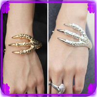 Wholesale Retail Talons Bracelet Fashion Paw Wristband Eagle Claw Hand Ring Golden Silver Bangle Women Jewelry