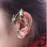 Wholesale Vintage Wings Dragon Ear Cuff Earring Alchemy Gothic Stud Wrap Lure Fashion earrings hanging