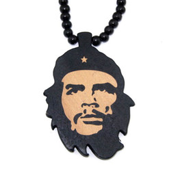 Wholesale Retail WOOD Necklace Che Guevara Pendants Beaded rosary Lucky jewelry LK2205