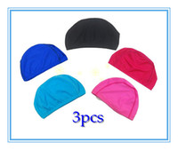Wholesale 3pcs Unisex Water Sports Elastane Hat Swimming Cap Swim Cap Pool Hat Polyester and Spandex Fibre Fre
