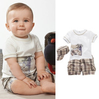 Wholesale Boy s Suits outfits sets t shirts short pants hats three pieces suit baby CAR clothes T