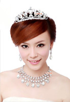 Wholesale Three jewelry set bridal accessories vintage diamond crown necklace earrings