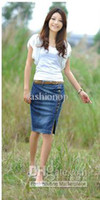Wholesale 2012 Hot Sales New Style Fashion Skirt Jeans Casual Single Breasted Split Skirt MXQDD No Belt