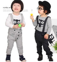 Boy cat - Baby Suits Bib Long Sleeved Sweater Black cat Set