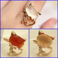 240pcs Encantos gato anillo de la joyería pulseras lindas Oro Dedos Accesorios Mujer Lady Cluster Mano Anillos