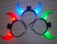 Wholesale Halloween Masquerade Devil Colors LED Flash Light Horns big horn Hair Clips Head Band