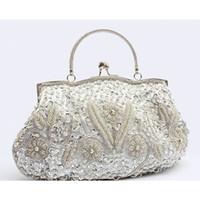 Satin beaded evening clutch purse - 2016 Classic wedding Bridal Clutch handmade Party Evening Handbag elegant Delicate sequin Beaded Lady Purse